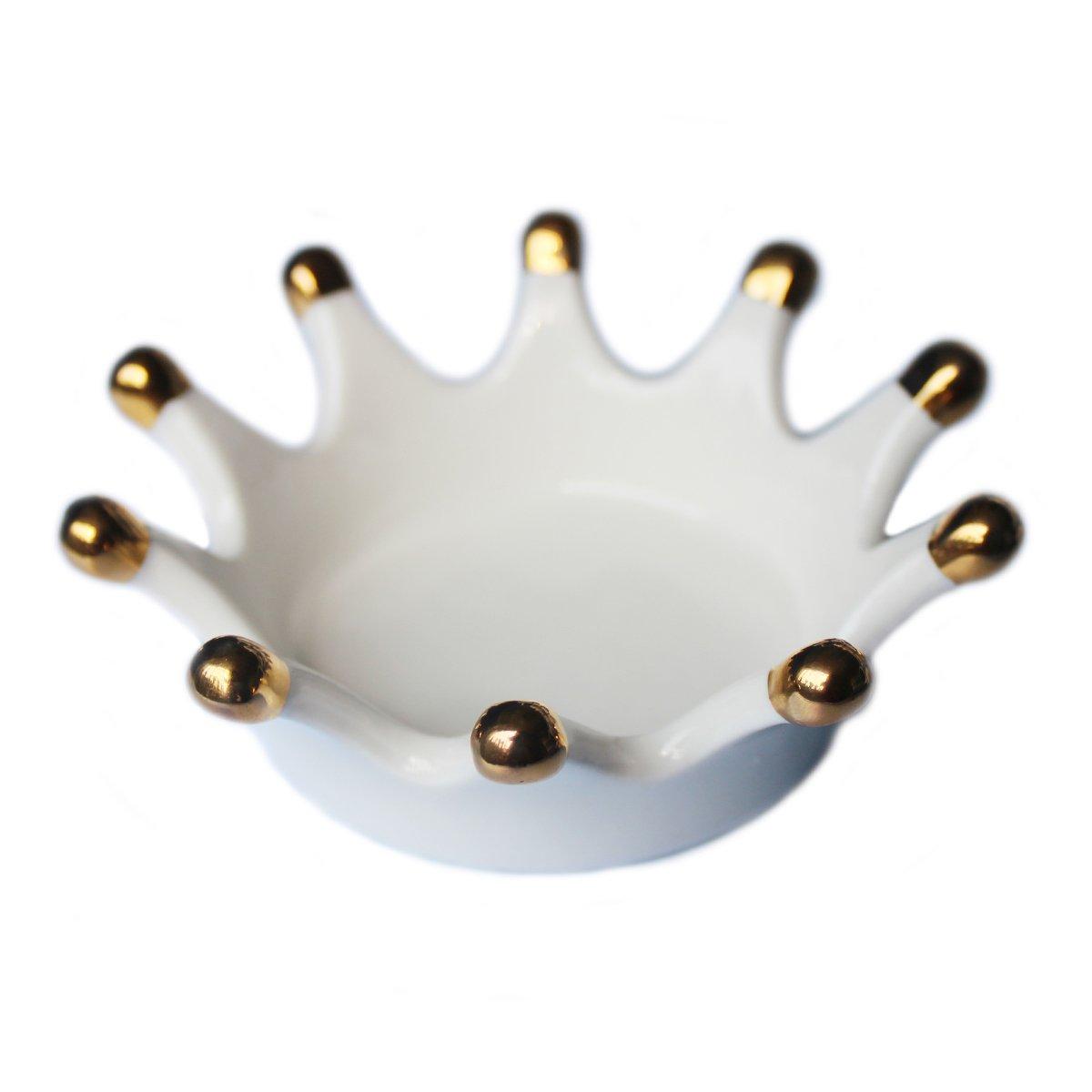 Ceramic Ring Holder Crown Shape Tray Cute Organizer Plate Trinkets Organizer