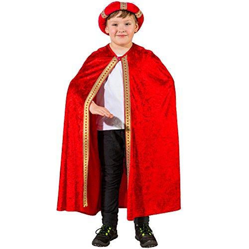 Unbekannt Kinder Kostüm Heilige DREI Könige Umhang Weihnachten Fasching Karneval (rot)
