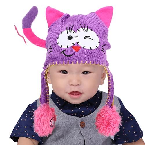 Denkerm Sombrero Lindo, diseño de Orejas en Movimiento Sombrero de Juguete Divertido Morado/Gris/Rosa para decoración Infantil y Regalo para niños Mayores de un año y Medio(Púrpura)