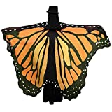 GRACIN Halloween Monarch Butterfly Wings Shawl Fairy Pixie Costume Cape (78'x50', String Ties, Orange)