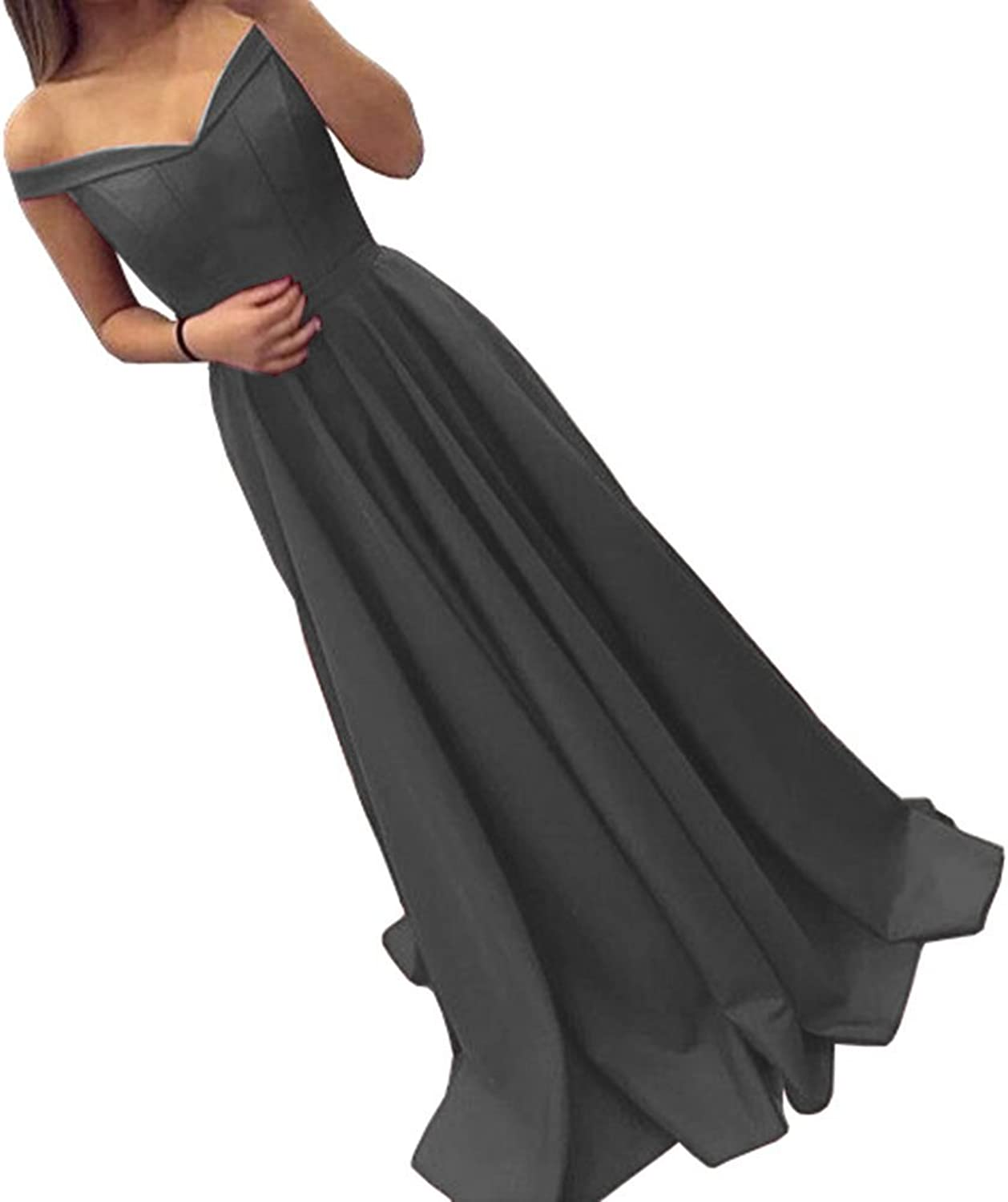 LiBridal Women's Aline Off The Shoulder Satin Prom Long Evening Dress Homecoming Gowns