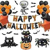 Halloween Deko, 58 Stücke Halloween Party Dekoration Set mit Happy Halloween Brief Luftballons, Aufblasbar Skelett, Spinne, Fledermaus, Kürbis Katze, Latexballon, Stern Folienballon, 3D Bats Stickers