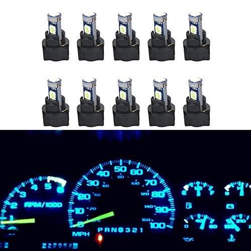 WLJH Lot de 10 ampoules LED T5 37 70 pour tableau de bord de voiture avec douilles torsadées, bleu glacier