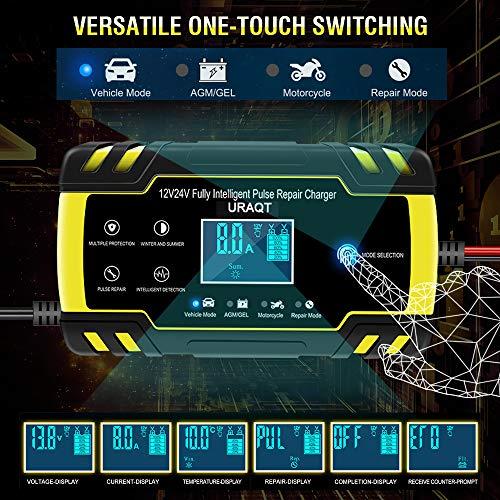 URAQT Caricabatteria Auto, 12V/24V 8A Multi Protezioni Caricabatteria e Mantenitore, Carica Batteria Intelligente Automatico con Schermo LED per Auto Moto Camion AGM