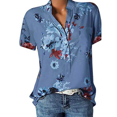HWTOP Damen Hemd Druck Bluse mit Tasche Große Größen Kurzarm Oberteile Easy Tops Sommer dünnes Shirt