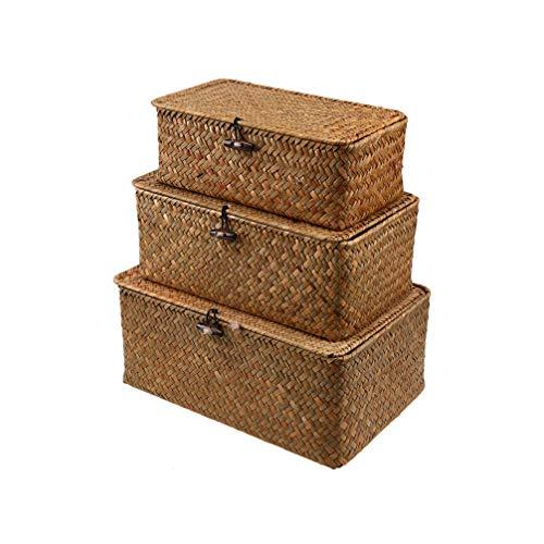 VOSAREA Gewebter Korb Weidenkorb mit Deckel Seegras Wäsche Rattan Organizer Box für Badezimmer Wohnzimmer Küche