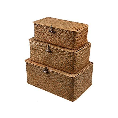 VOSAREA Woven Basket Wicker Storage Basket with Lids Seagrass Laundry Rattan Organizer Box for Bathroom Living Room Kitchen