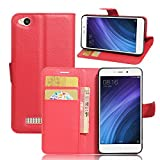 Ycloud Tasche für Xiaomi Redmi 4A Hülle, PU Ledertasche Flip Cover Wallet Hülle Handyhülle mit Stand Function Credit Card Slots Bookstyle Purse Design rote