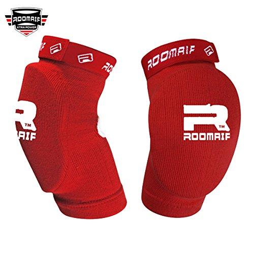 ROOMAIF Ellenbogenschützer Ellenbogenschoner Ellenbogen Bandagen Kickboxen MMA Kampfsport Elbow Guard DE (Rot, Einheitsgröße)