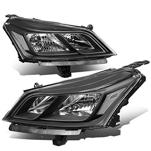Pair of OE Style Black Housing Clear Corner Left+Right Headlight Assembly Lamps Replacement for Chevy Traverse 13-17