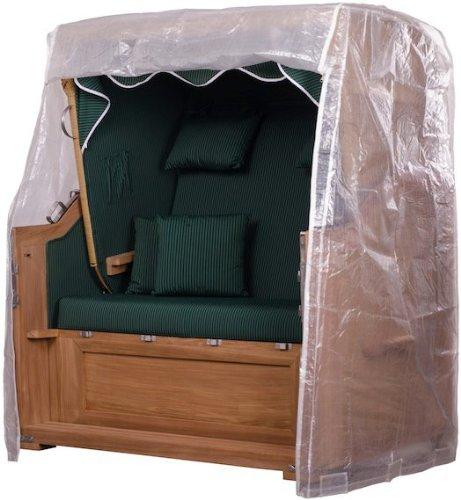 Strandkorbhülle PVC 2,5 Sitzer Größe XL transparent - Hülle - Regenhaube - Strandkorb - Schutzhülle - einfache Montage - Polyester - Abdeckplane - Strandkörbe
