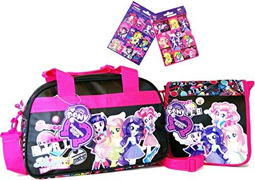 DerForm My Little Pony 3 TLG. My Little Pony - Equestria Girls - Super Set - Reise - Tasche/Sporttasche/Kindergarten-Tasche (34 x 22 x 21 cm) + Umhängetasche (20 x 20 x 5 cm) + 16 Equestria Girls Sticker