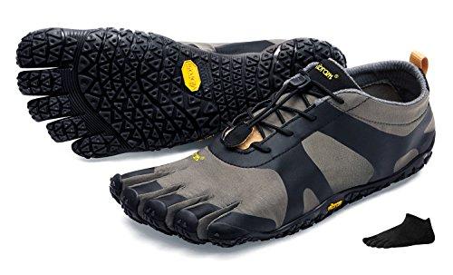 Zapatos con dedos FiveFingers V-Alpha de Vibram para hombre; con calcetines con dedos; para senderismo y otras actividades, gris, negro, 40