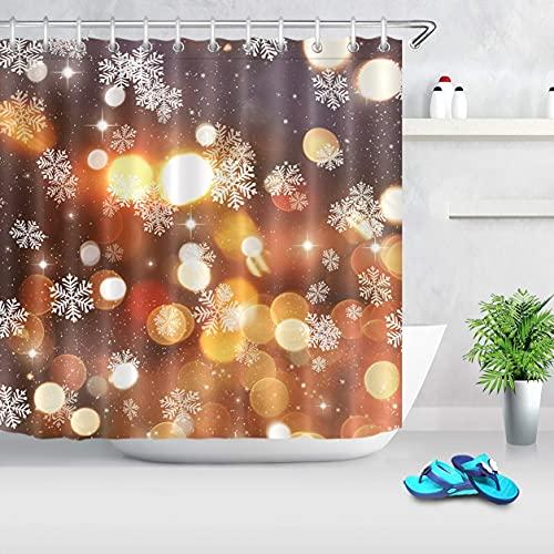 Fantasy Winter Duschvorhang für BadezimmerHazy Bubbles Halo Schneeflocke Duschvorhang Set mit Haken72x72 Zoll Extra langes Polyestergewebe wasserdicht