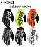 100 Percent Brisker - Guanti da Motocross per Adulti, Modello 2019, per Motocross, Enduro, Quad, Pit Kart, ATV, MTB, Fuoristrada, Sport Invernali, Fluo Yellow, M
