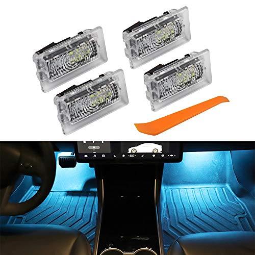 VDARK Auto Innenraum LED Autotür Licht Upgrade Beleuchtung Ersatz Ultraheller Easy-Plug mit Prying Tool Kompatibles Kit Glitzerlampe für Tesla Modell 3 Modell S Modell X Modell Y (Ice Blue BLAU4)