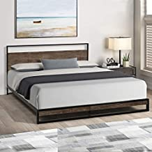 Queen Bed Frame, HABITRIO Metal Structure Queen Size Platform Bed with Wooden Headboard, Low Profile Footboard, No Box Spring Needed Panel Bed for Queen Mattress, Furniture for Bedroom, Guest Room