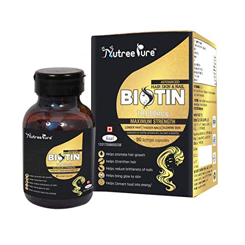 Nutree Pure BIOTIN Maximum Strength 10000 mcg with Calcium and Inositol for (Hair, Skin and Nail Health) - 90 Capsules