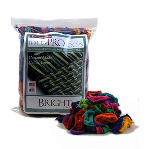 Harrisville Designs Lotta Loops 10' Pro Size Bright Cotton Loops Makes 8 Potholders, Weaving, Crafts For Kids And Adults-Assorted Colors