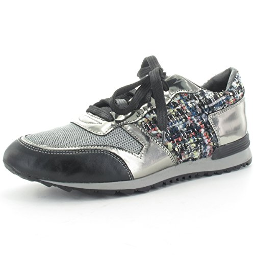 MARIPE 21156-120945 Sneaker mit markanter Gummisohle - Lederkombination Silber/schwarz - Made in Italy