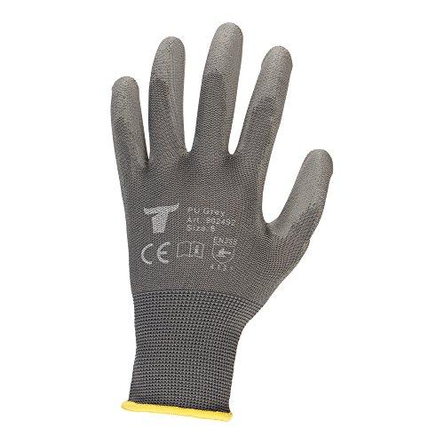 STIER Montagehandschuhe, 12 Paar, Größe 10, Nylon mit PU-Beschichtung, Exzellentes Tastgefühl, Griffsicherheit, hohe Abriebfestigkeit, Atmungsaktivität, Grau