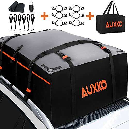 AUXKO Car Rooftop Cargo Carrier Roof Bag, 20 Cubic Feet Waterproof Military Soft Roof Top Luggage Carrier Bag Heavy Duty Truck Bed Cargo Bag Fits All Vehicle with Without Rack