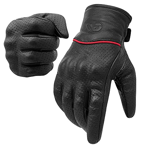 WD Motorsports Motorcycle Gloves, Full Finger, Riding Gloves Men, Leather, Touchscreen, Armored...