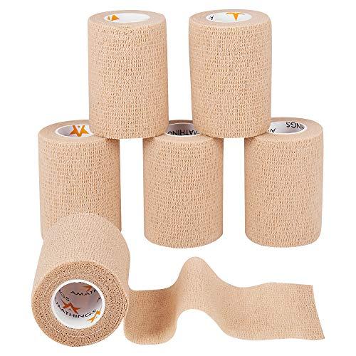 6 Stück Pflasterverband Kohesive Selbsthaftende Bandagen In HAUTFARBEN elastischer Fixierverband 7,5 CM Breite 4,5 METER Länge Für Arme, Beine Von AMA