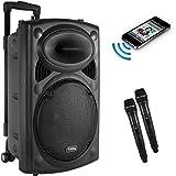 Frisby FS-4050P Portable Rechargeable Bluetooth Karaoke Party Machine PA Speaker System w/ Telescoping Handle & Wheels & 2 Wireless Microphones Echo & AM/FM Radio & USB & SD Slots