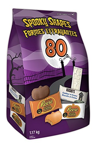 HERSHEY'S Halloween Chocolate Candy Assortment Bulk (Reese, White Chocolate Reese, Cookies 'N' Crème), Spooky Shapes, 80 Count