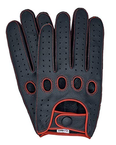 Riparo Men's Reverse Stitched Touchscreen Texting Leather Driving Gloves (Large, Black/Red)