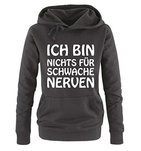 Comedy Shirts Ich Bin Nichts für schwache Nerven - Damen Hoodie - Schwarz/Weiss Gr. L
