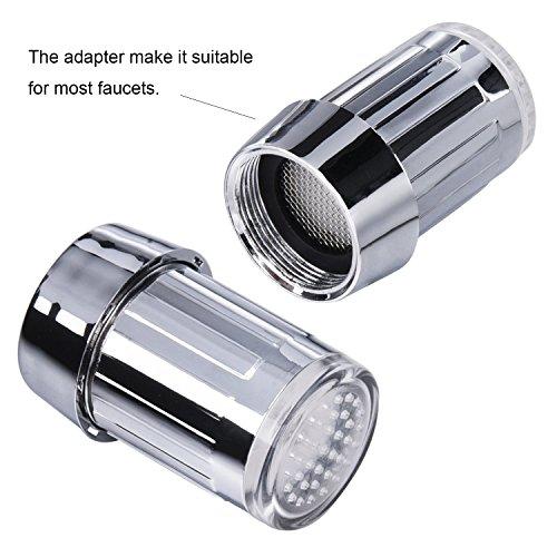 SHABEI LED Wasserhahn Temperatur,Glow Wasser Stream Mini Wasser Powered Temperatur Sensor 3 Farben ändern LED Wasserhahn Licht - 4