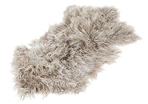 Tibet Lammfell Teppich Tierform (große Farbauswahl) Farbe Silber grau (Tops) JAY105 TP2