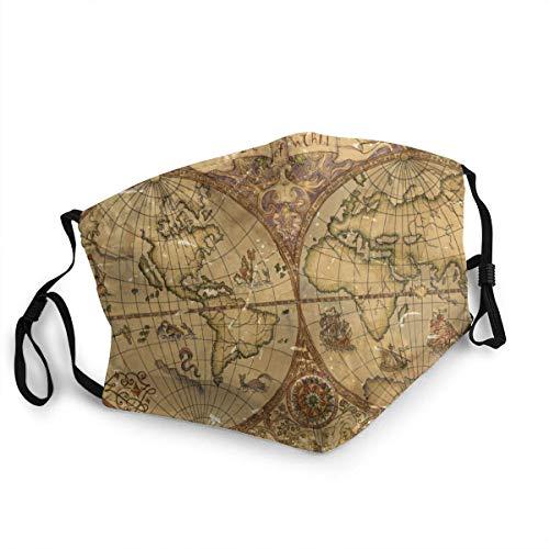 Decoraciones para la Cara Transpirable Mapa del Mundo y Vintage Linterna Antigua...