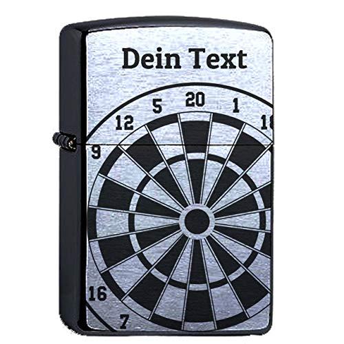 elbedruck Dartscheibe mit Wunschtext Lasergravur Compatible with Zippo personalisiert Gravur Dartboard Dartpfeil Dart Sturmfeuerzeug Personalisieren