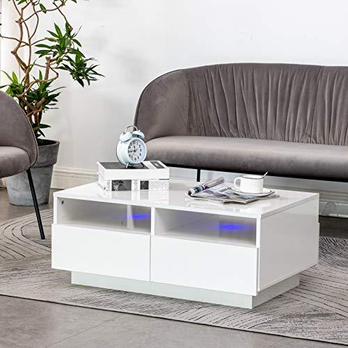 AYNEFY Couchtisch Weiß Hochglanz Wohnzimmertisch Rechteck Sofatisch Moderner Kaffeetisch mit 2 Ablagefach und 4 Schublade Fernsehtisch für Wohnzimmer Schlafzimmer, 85 x 53 x 35 cm