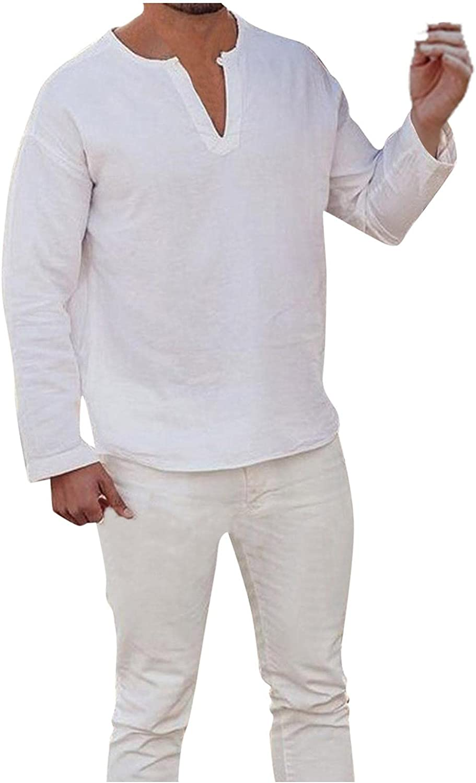 Huangse Unisex Summer Baggy Cotton Linen Henley Shirts Casual Loose Beach Yoga Tops Blouse for Men V Neck Shirt