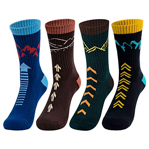 Time May Tell Mens Hiking Socks Moisture Wicking Cushion Crew Socks for Terkking,Outdoor Sports,Performance 2/4 Pack (Black,Blue,Brown,Green(4 pairs), US size 9.5-12.5)