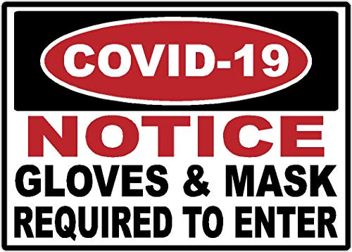 Safety | Covid-19 | Gloves and Mask Required | Warning | Decal | Sticker | Coronavirus | Made in Texas USA | (10 x 7')