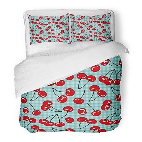 3-teiliges Bettbezug-Set Gebürsteter Mikrofaser-Stoff Blue Plaid Cherry Berry auf karierten Kirschen Roter Tartan Bio-Buchung Dessert Atmungsaktives Bettwäscheset mit 2 Kissenbezügen in Twin Size