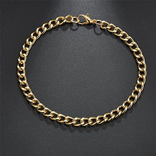 JEFEYI Pulsera Tobillera Pulsera de 22 cm, Collar de eslabones de Cadena de Oro para Hombres y Mujeres, Pulsera para Hombres, Regalo de joyería de Moda 83602