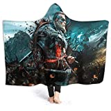 Dragongsj Assassin's Creed Anime Flannel Throw Blanket,for Men's and Women's,Winter Anti-Static Hooded Cloak Shawl Wrap Quilt for Bed Couch Sofa Living Room Bedroom 50'X40'