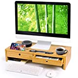 Bamboo Monitor Stand Riser with Drawers, Sturdy Desk Organizer Laptop Stand with Keyboard Storage, Office...