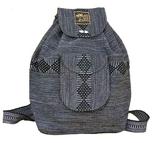 No Bad Days Baja Backpack Ethnic Woven Mexican Bag - Gray - Medium