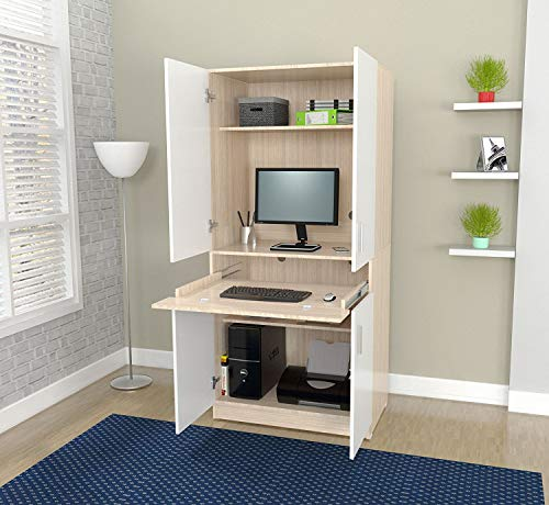 Inval AM-16423 Computer Desks, Laricina-White/Beech