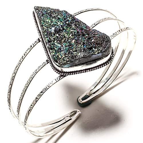 jewels paradise Armreif Titan Druzy Edelstein handgefertigt 925 Sterling Silber vergoldet Schmuck – verstellbare Größe – SF-1717