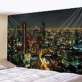 KHKJ Hermosa Ciudad Vista Nocturna Tapiz río Edificios de Gran Altura Hermosa iluminación Arte Creativo Tapiz Colgante de Pared A1 95x73cm