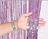 2 Pack Metallico Tinsel Tende Foil Frangia Shimmer Streamer Tenda Porta Decorazione Della Finestra Per Il Compleanno Forniture Festa Di Nozze 3ft * 9ft - Laser Rosa