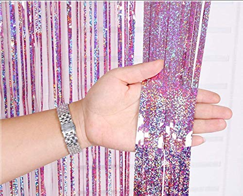 2 Pack Metallic Tinsel Curtains Foil Fringe Shimmer Streamers Curtain Door Window Decoration for Birthday Wedding Party Supplies 3ft*9ft - Laser Pink